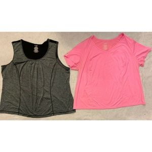 Lot of 2 Danskin Now Shirt Plus Size 3X Pink Gray